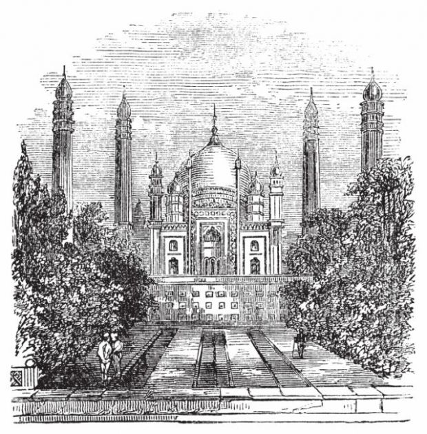Engraving of mausoleum with onion domes